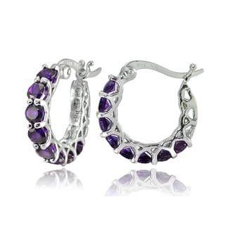 b287c35ae28c1 Glitzy Rocks Sterling Silver Birthstone Gemstone Small Hoop Earrings ...