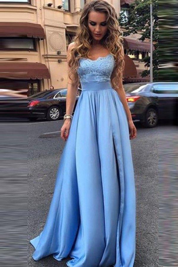 Long Prom Dress,Appliques Prom Dresses,Sexy Evening Dress,Blue ...