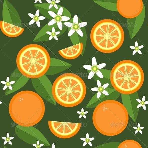 Seamless Orange Fruit and Flowers Texture 545 | Tag art ...