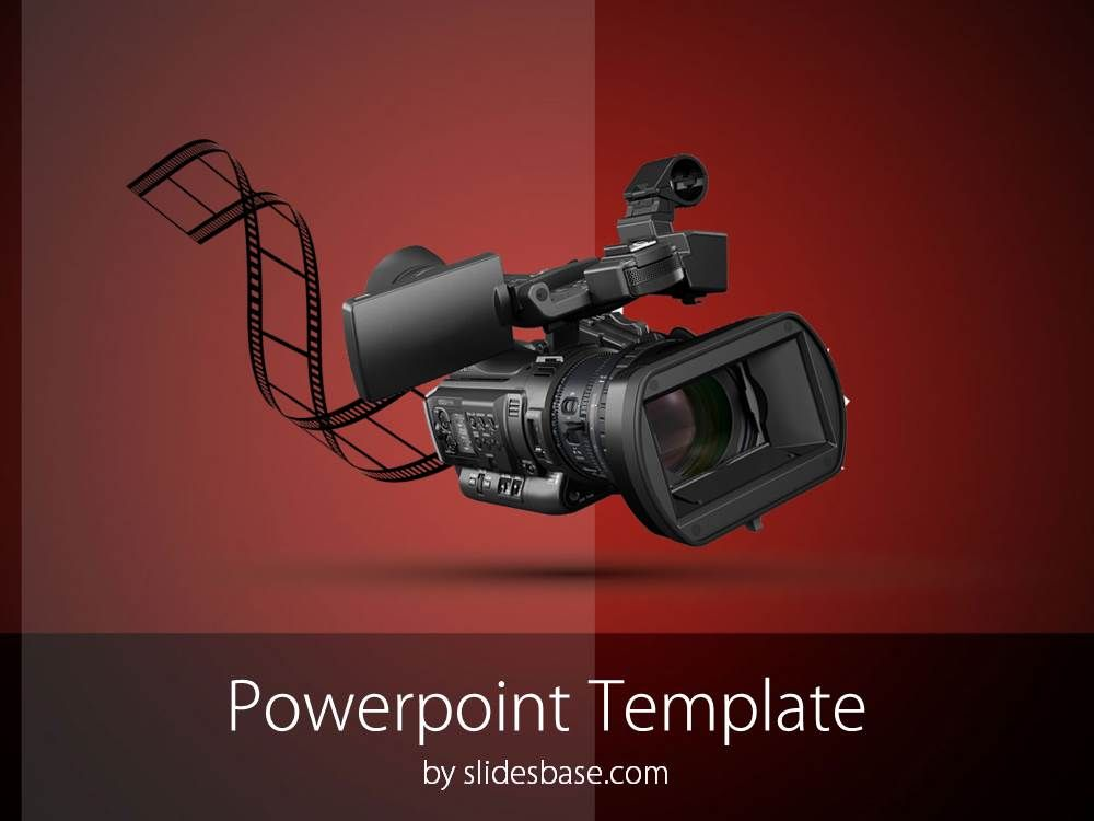 Professional video camera recorder filmmaking movie editing powerpoint template with a professional video camera recorder and film strip background toneelgroepblik Choice Image