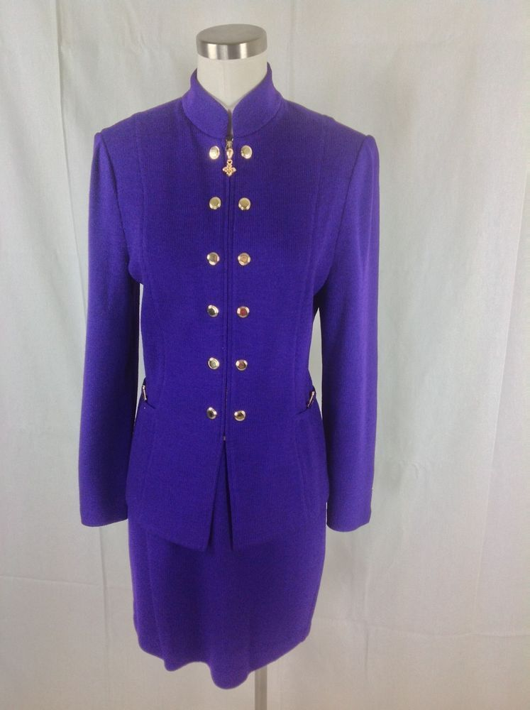 099a2cd976c St John Collection Knit Skirt Suit by Marie Gray Purple 4 6 Small  StJohn   SkirtSuit