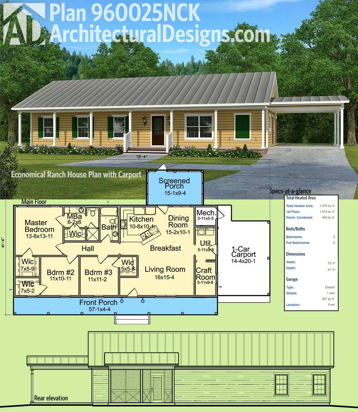 Plan 960025NCK: Economical Ranch House Plan with Carport | Simple ...