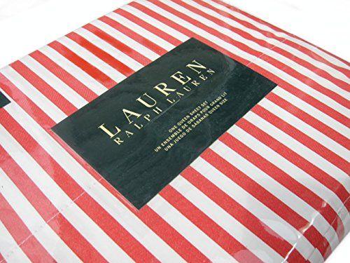 Ralph Lauren Striped 4 Piece Queen Sheet Set Orange Red