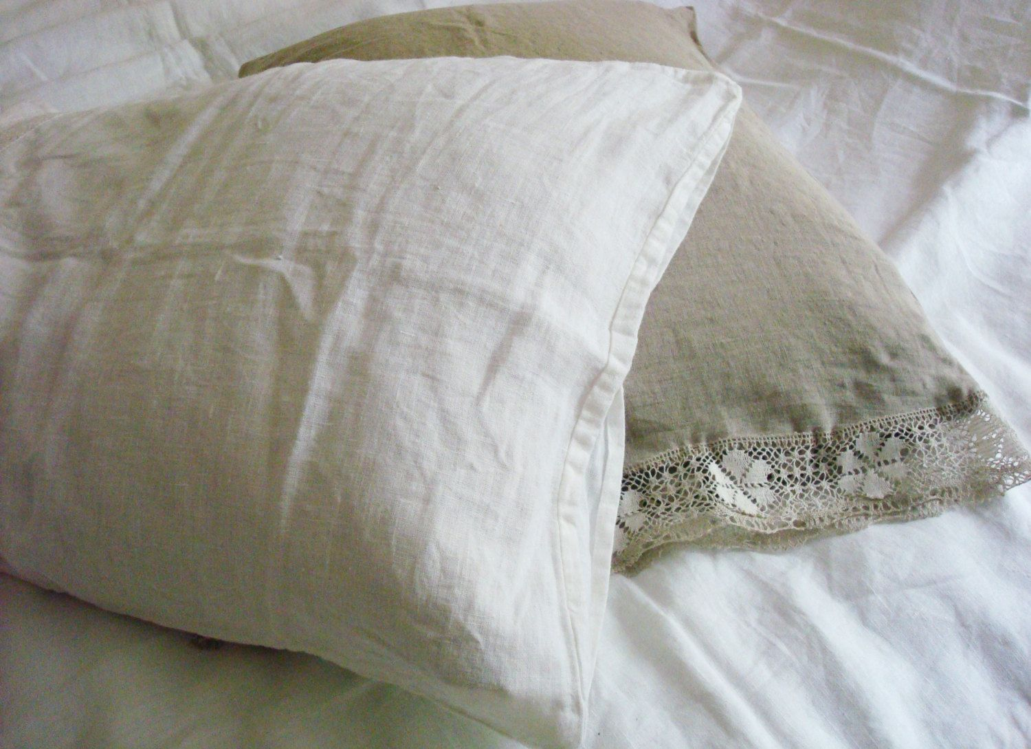 Simple white linen pillow case stonewashed linen pillowcase shabby chic linen bed set  by LUXOTEKS (25.00 USD) by Luxoteks