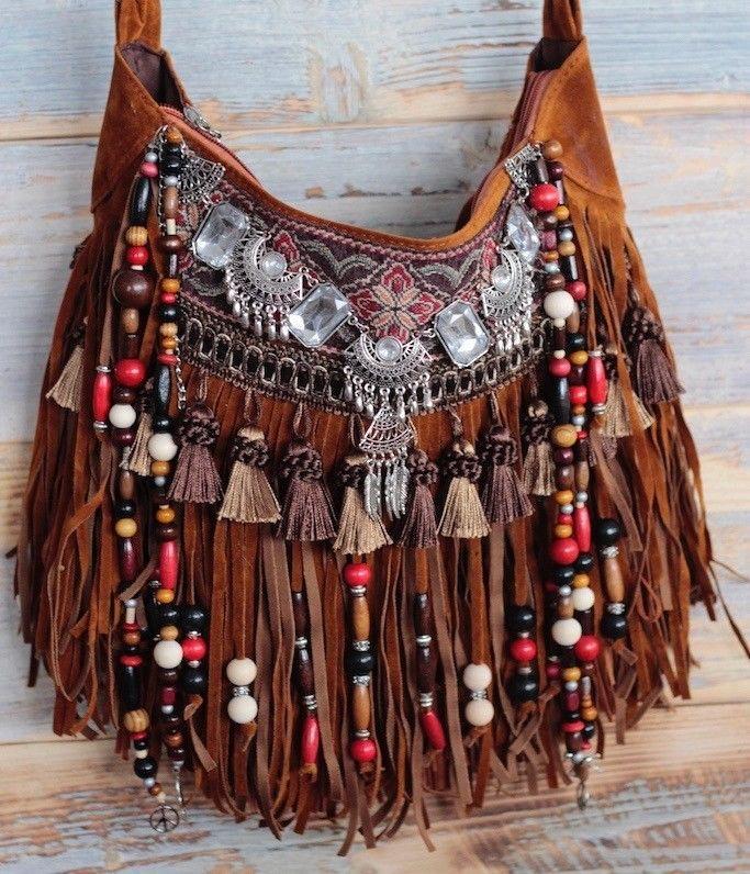 coachella bag festival purse boho chic bag fringe gypsy handmade bag hippie bag handmade. Black Bedroom Furniture Sets. Home Design Ideas