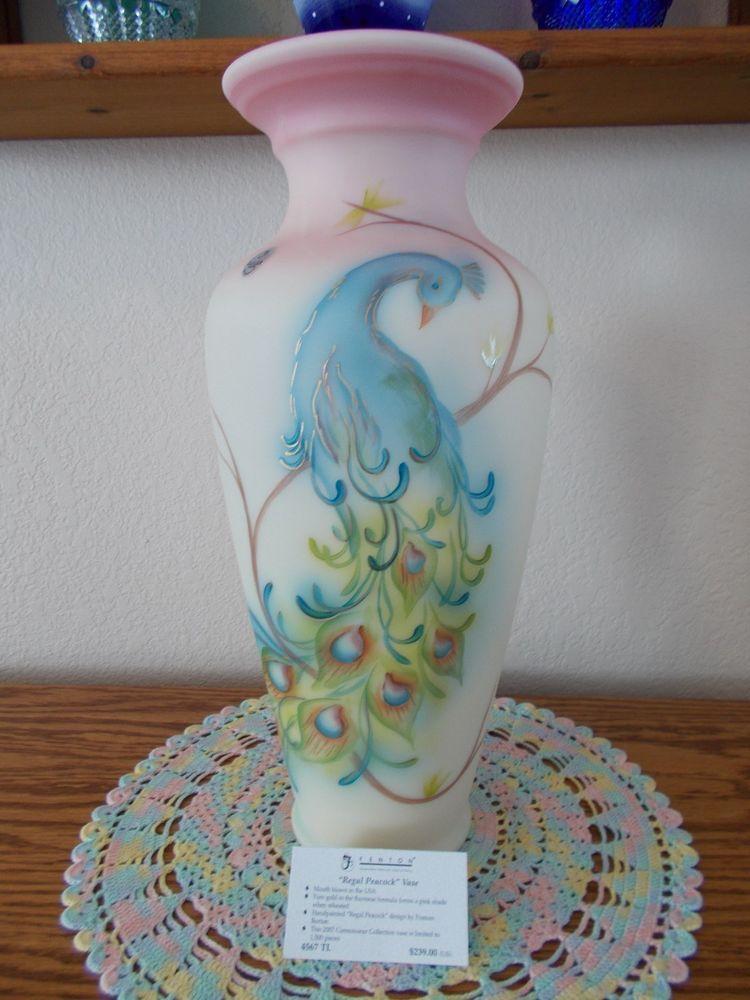 Fenton Burmese Regal Peacock Vase Connoisseur Collection