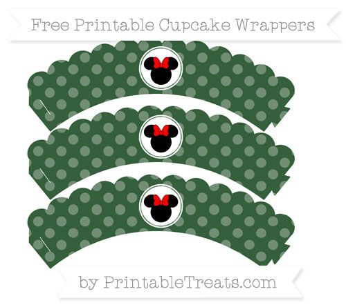 Free Hunter Green Dotted Pattern Minnie Mouse Scalloped Cupcake Wrappers