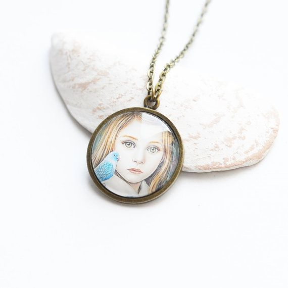 FEMALE IMAGES Round pendant metal brass with the by OhKsushop