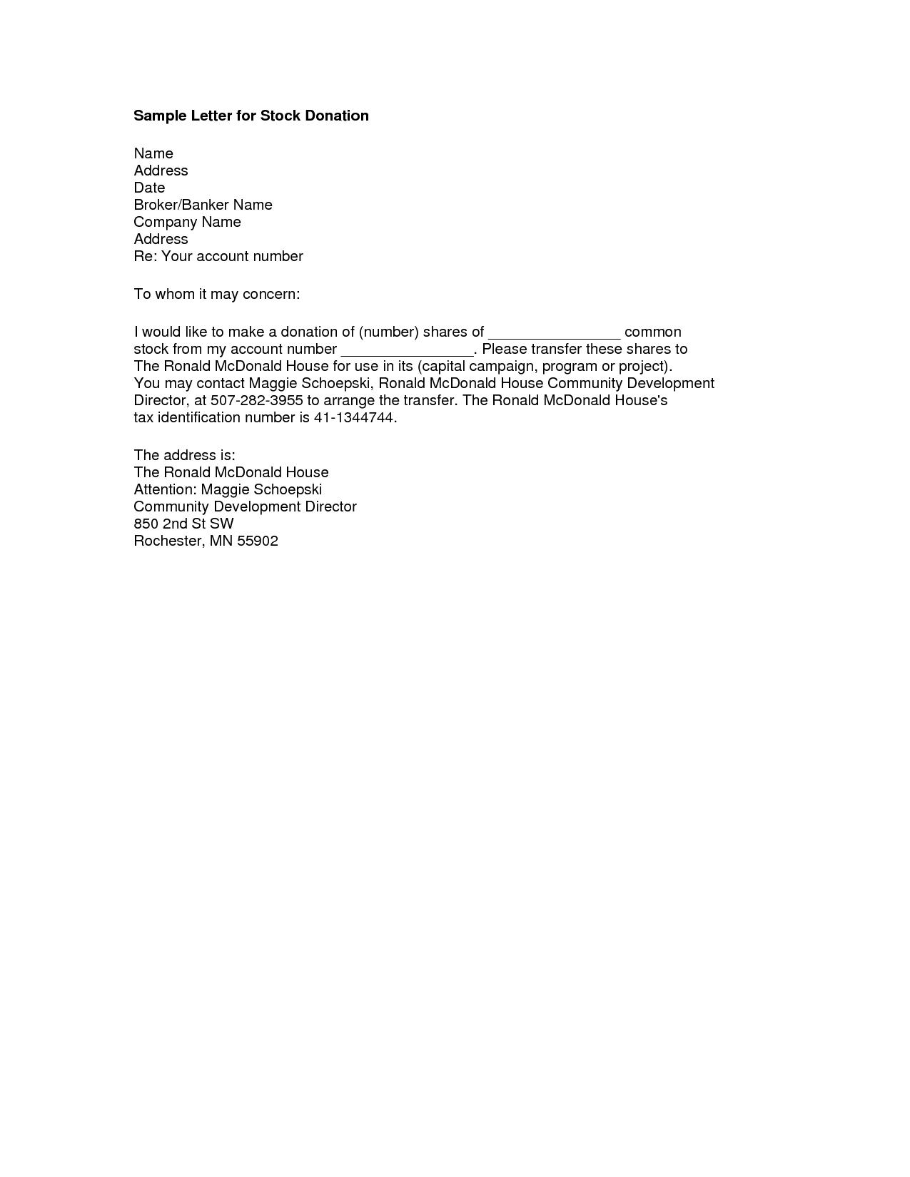 Sympathy Donation Letter