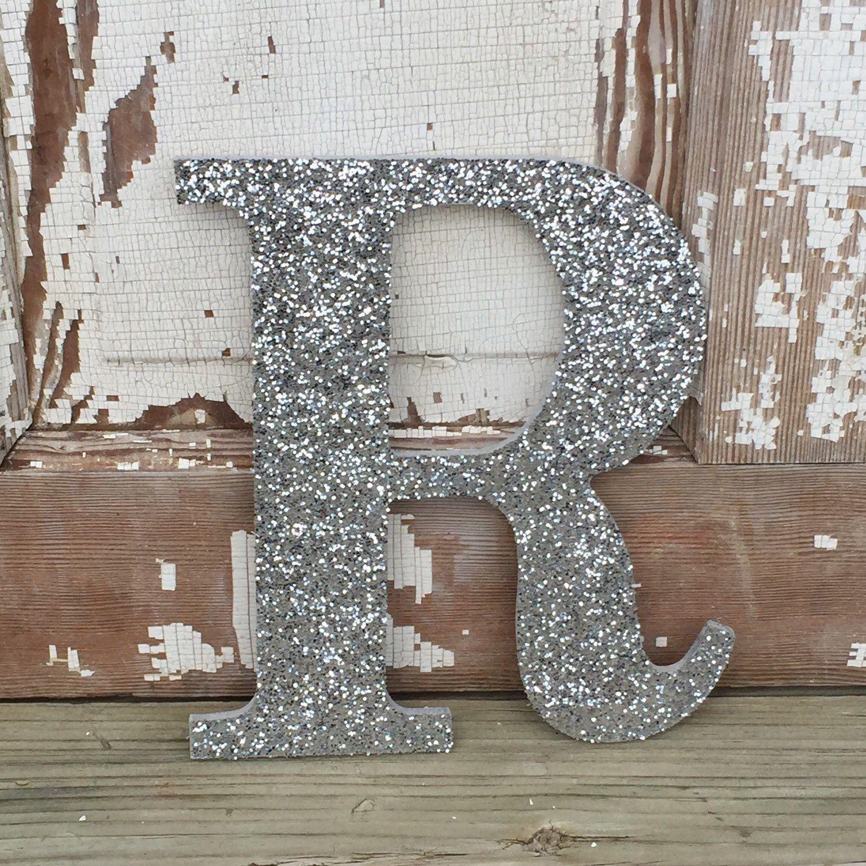 "15"" Decorative Silver Glitter Wall Letters, Girls Bedroom Decor"