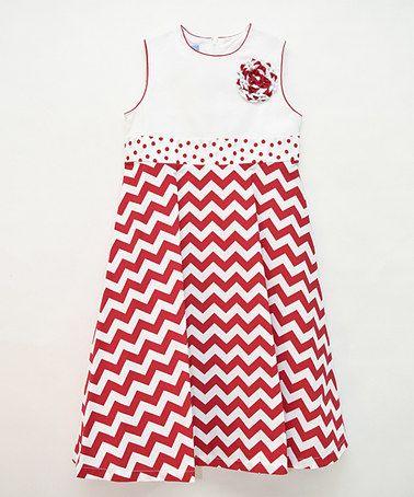Loving this Red Chevron A-Line Dress - Girls on #zulily! #zulilyfinds