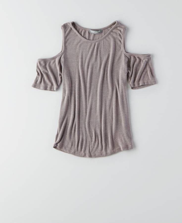 2f52e1b69bb97 AEO Don t Ask Why Open Shoulder Ribbed T-Shirt