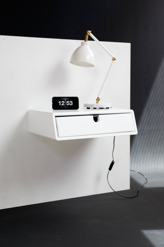 Floating White nightstand / Bedside Table / Drawer, Scandinavian Mid ...