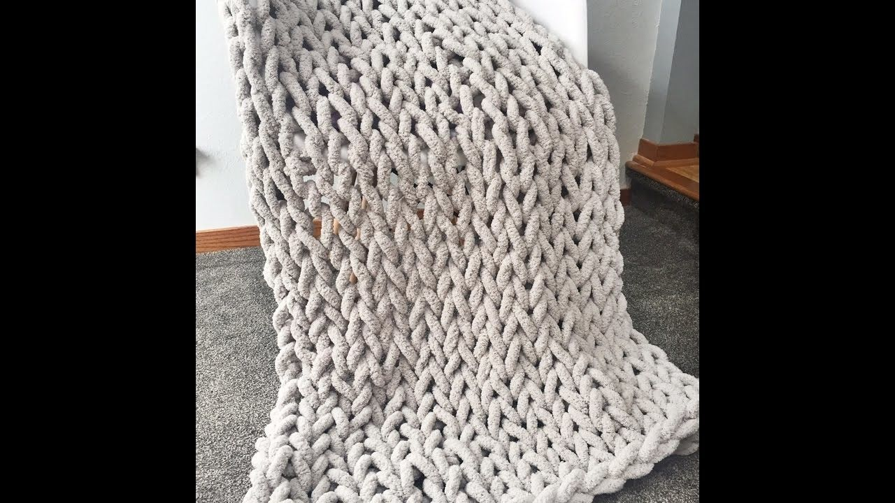How To Hand Knit A Super Chunky Chenille Blanket 40x60 In Becozi