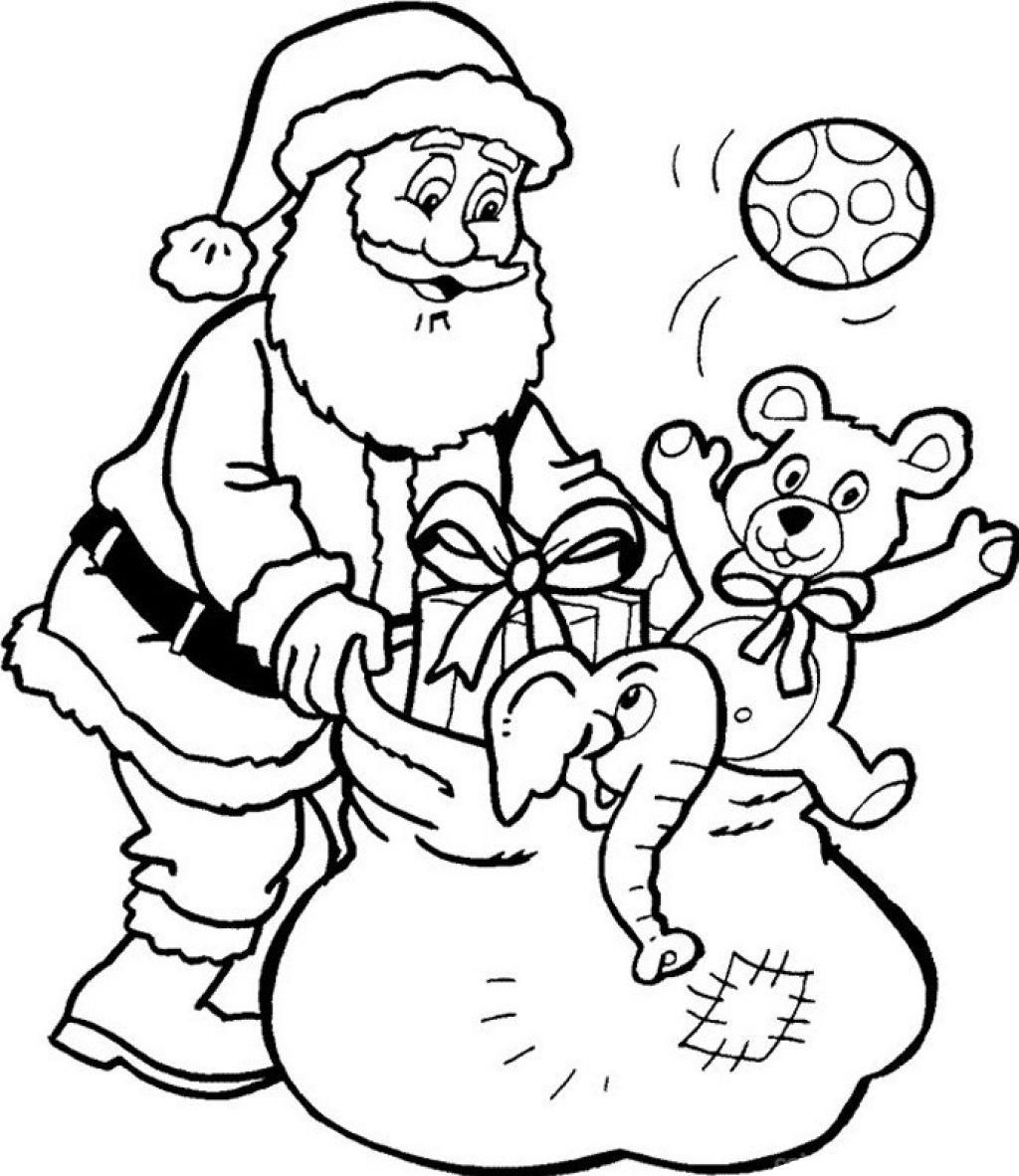 Santa Claus And Presents Printable Coloring Pages