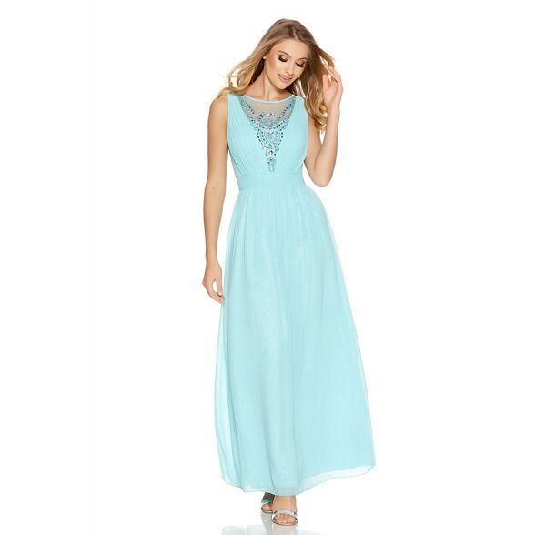 quiz aqua chiffon diamante embellished v neck maxi dress