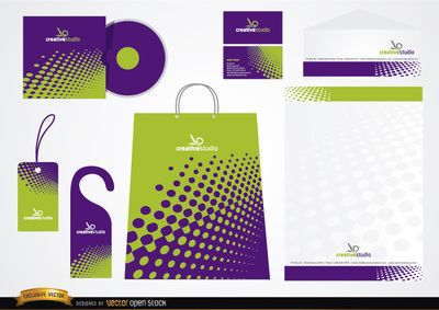 nice stationery packaging design of green and purple dots for