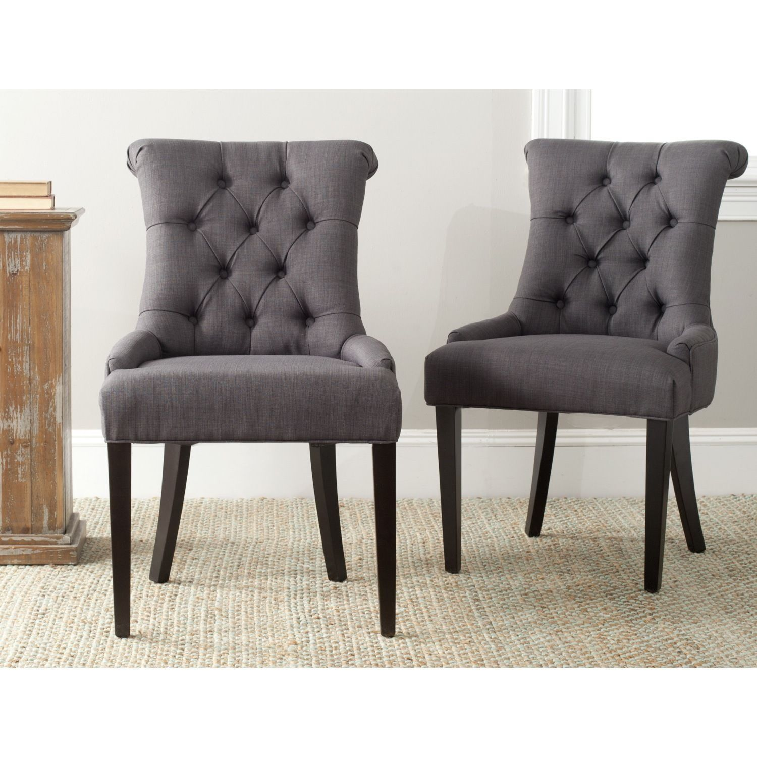 Safavieh En Vogue Dining Bowie Charcoal Grey Side Chairs Set Of 2 Mcr4712d Set2 Linen Gray Dining Chairs Dining Chairs Grey Side Chairs