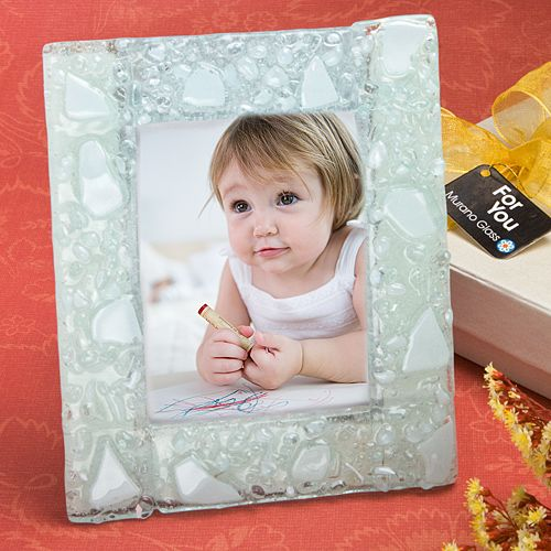 Murano Collection White Finish Picture Frame Unique Baby Shower Favors