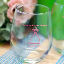 personalized stemless wine glass favorlove this idiea for a bridal shower or even a wedding