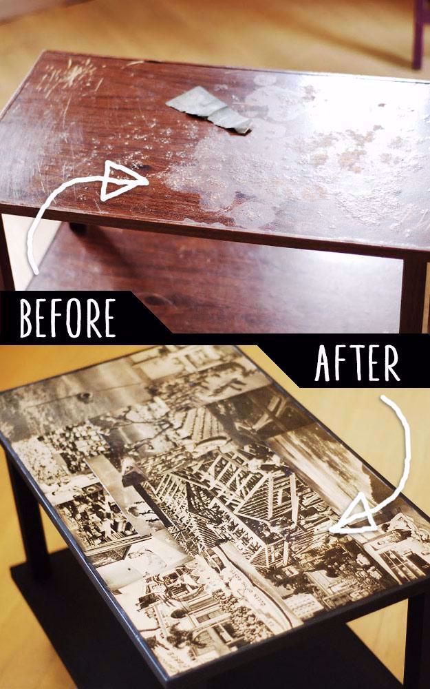 DIY Furniture Makeovers - Refurbished Furniture and Cool Painted Furniture Ideas for Thrift Store Furniture Makeover Projects | Coffee Tables, Dressers and Bedroom Decor, Kitchen | Decoupaged TV Cart Makover #diy #furnituremakeover #diyfurniture