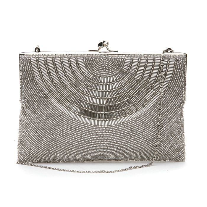 Moyna Bags Squarish Framed Clutch Silver More