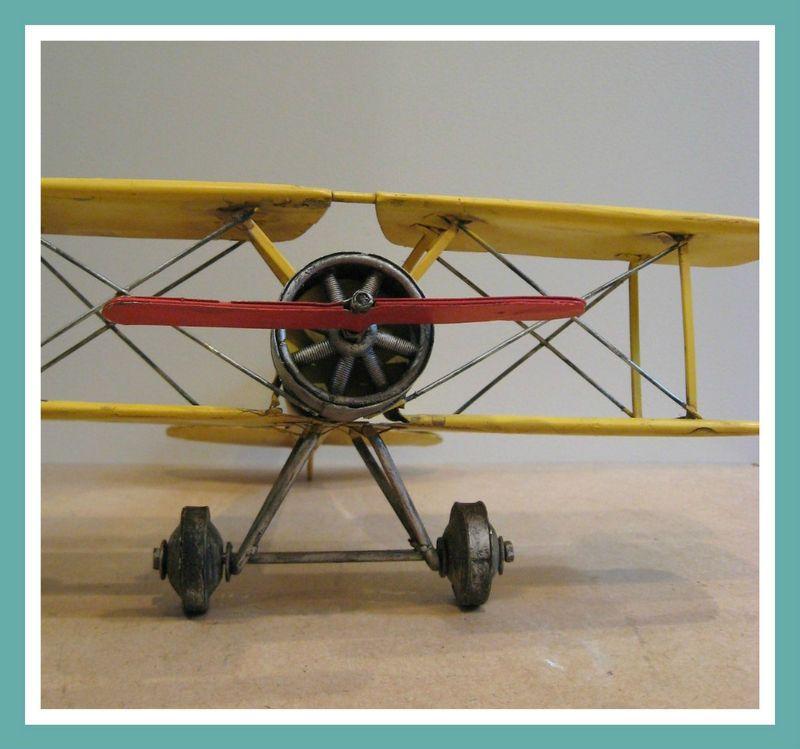 Vtg Industrial Metal Bi Plane Airplane Model Sculpture