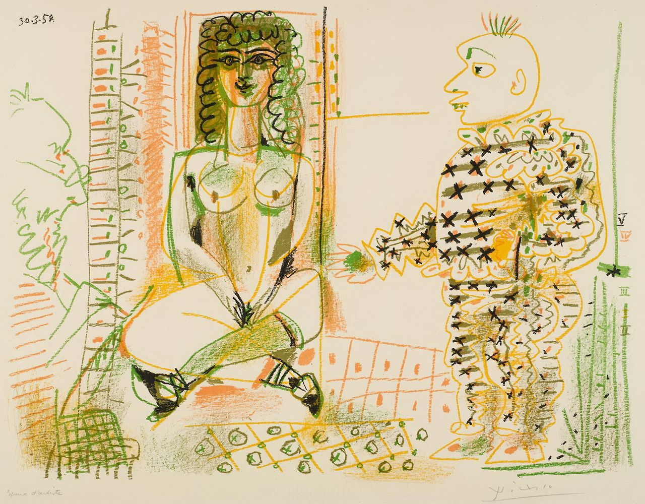 workman: hipinuff: Pablo Picasso (Spanish: 1881 – 1973), The painter and his model, 1954. Colored lithograph, 50x64 cm.