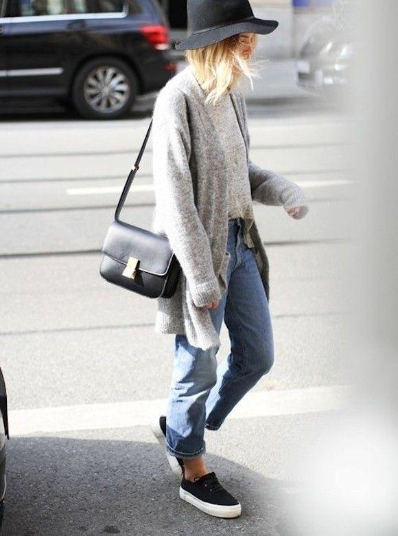 official store 50% off cute cheap Idée look baskets Adidas noires, gilet long, boyfriend jean ...