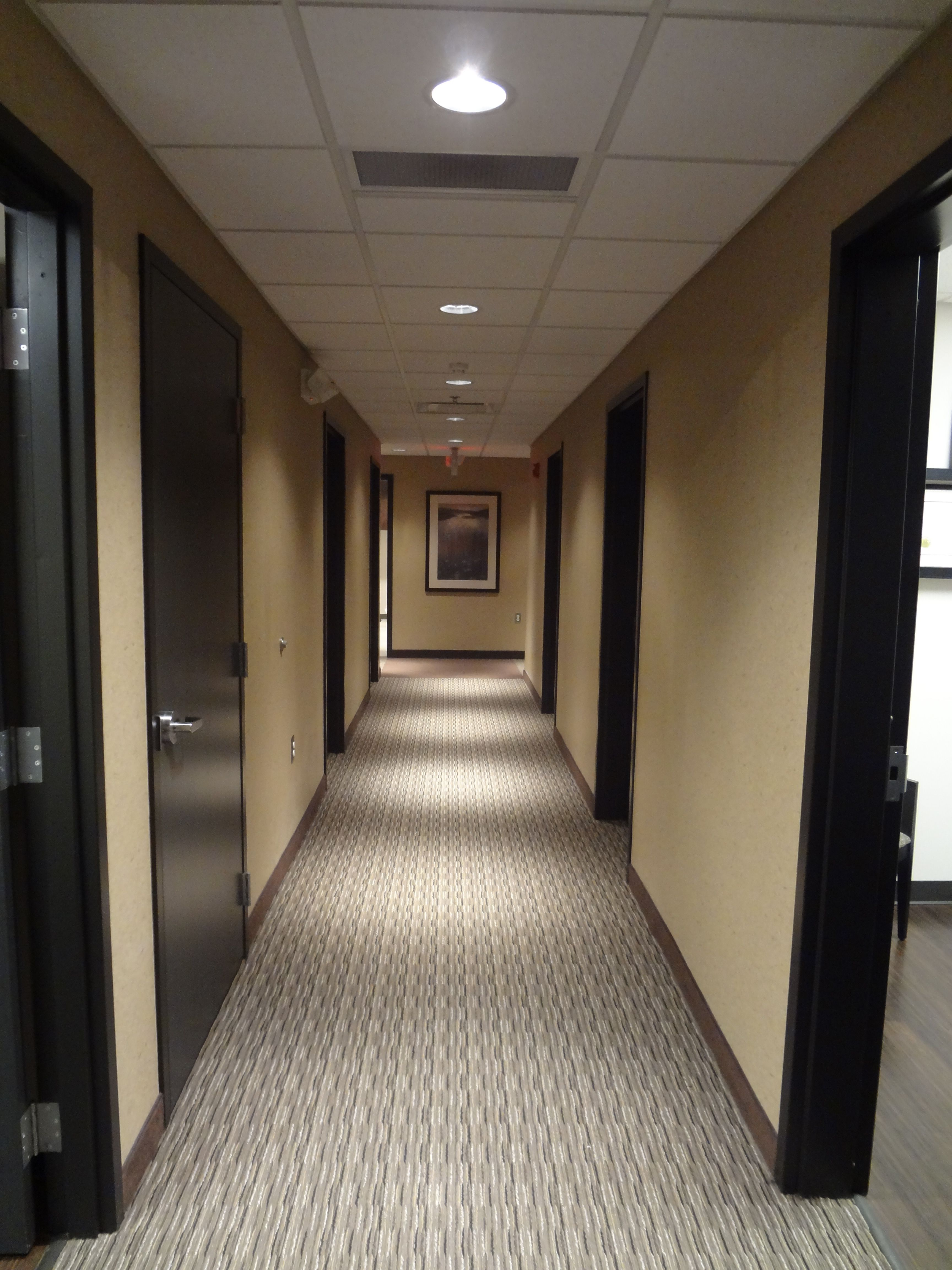 Hallway Of Medical Office With Carpet Custom Stained Oak Doors And Recessed Can Lighting
