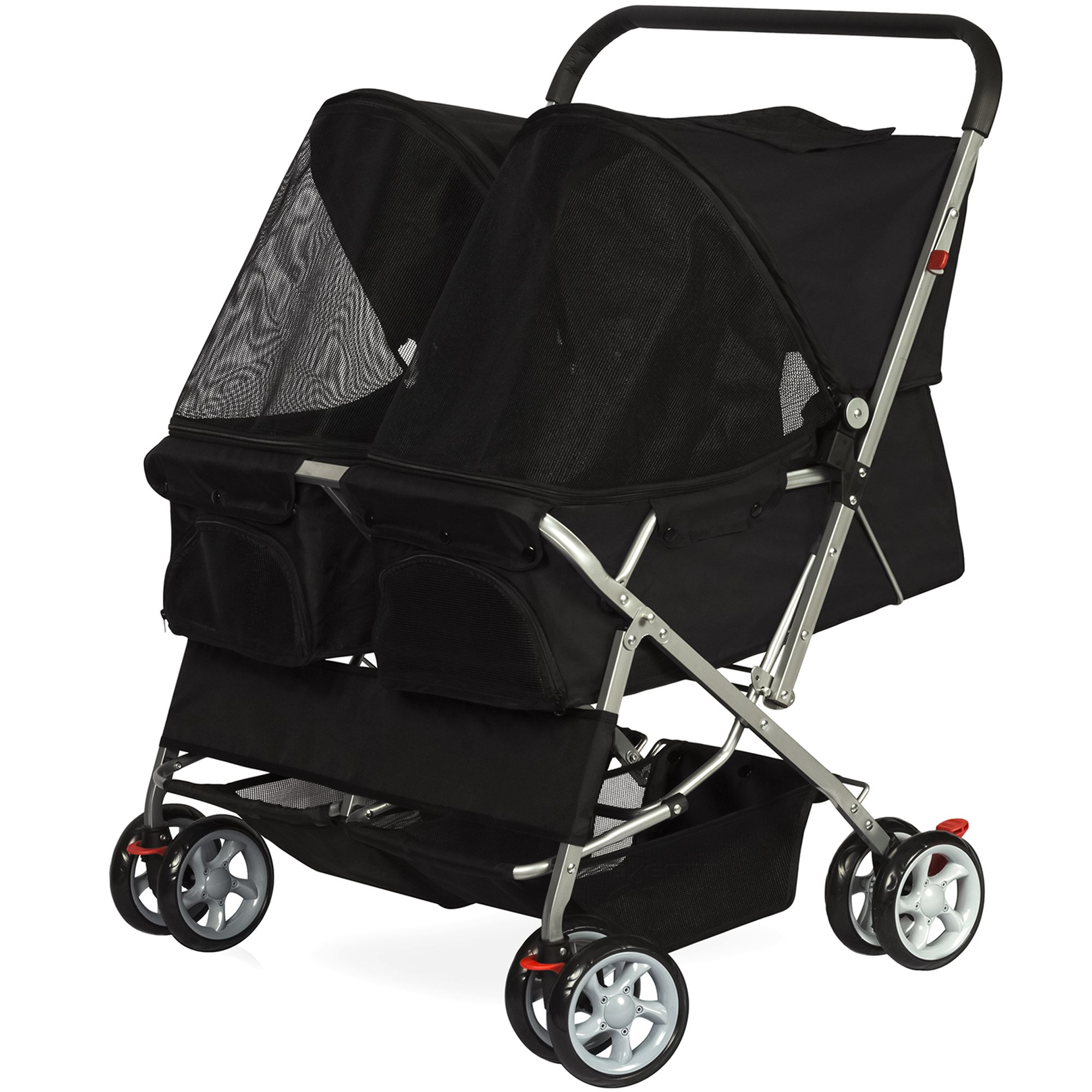 Paws & Pals Twin Double Folding Black Pet Stroller in 2019