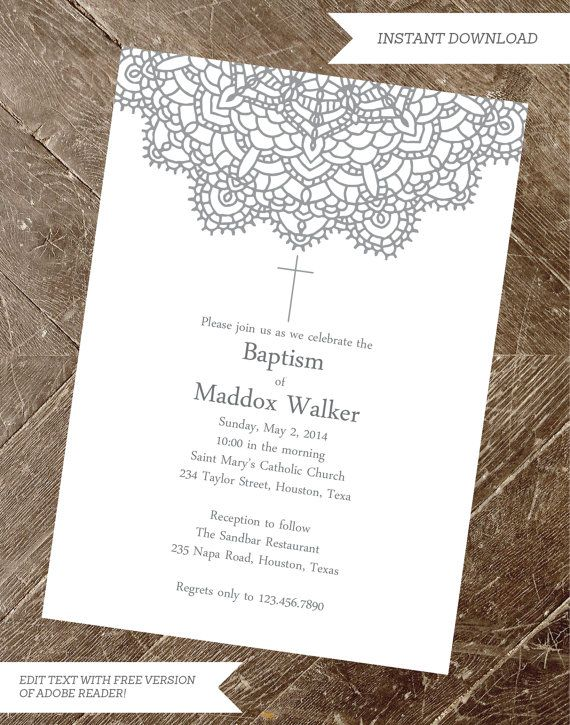 baptism invitation christening invite by instantpartyplanner first