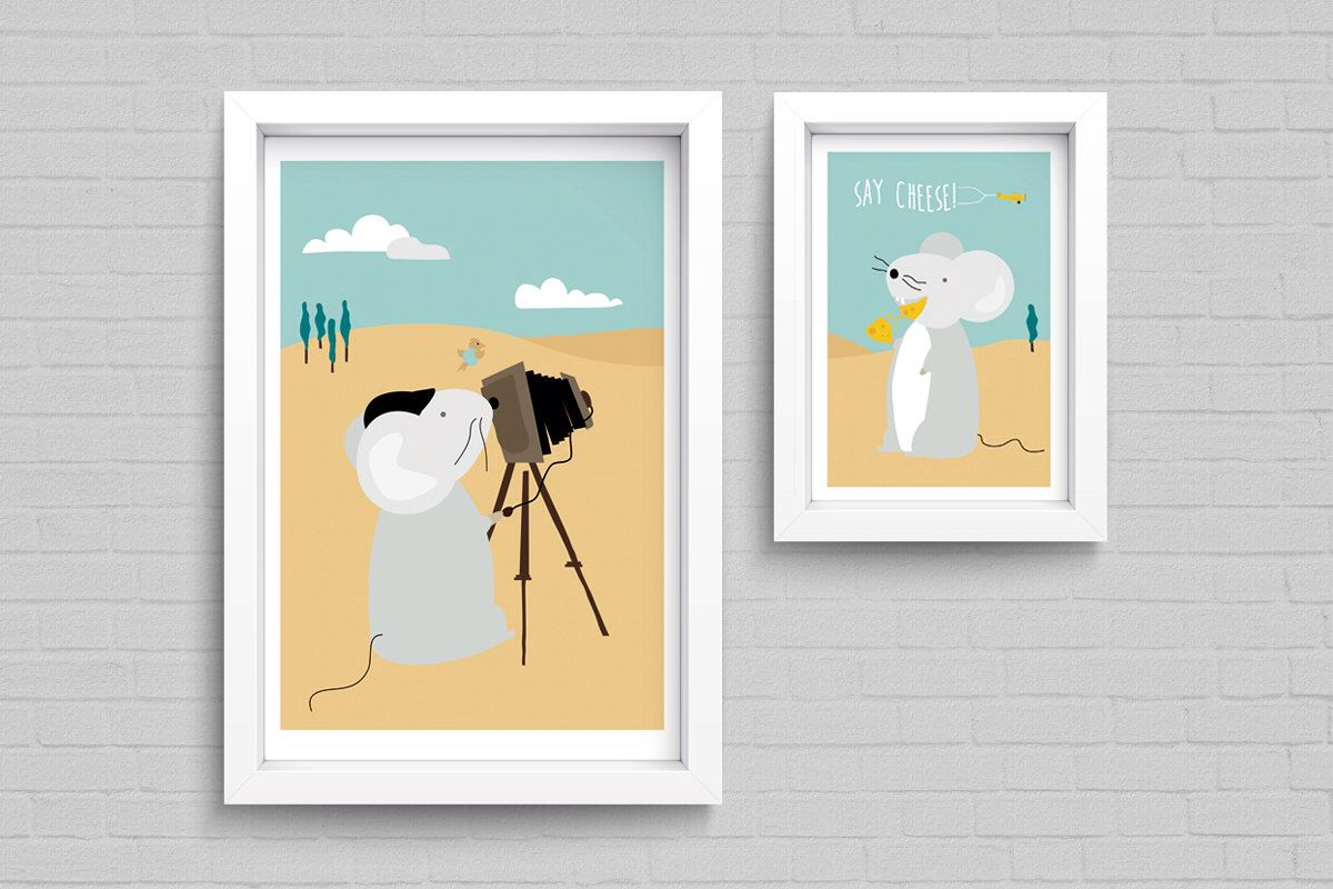 Say Cheese - Set of 2 Mouse Art Prints, Nursery Decor by DreamyCow ...