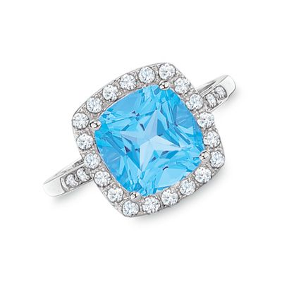 Cushion-Cut Blue Topaz and Lab-Created White Sapphire Ring in 10K White Gold with Diamond Accents  - Peoples Jewellers           ...