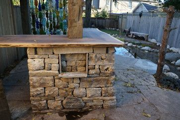 Dry Laid Stone Outdoor Bar With Built In Shelving
