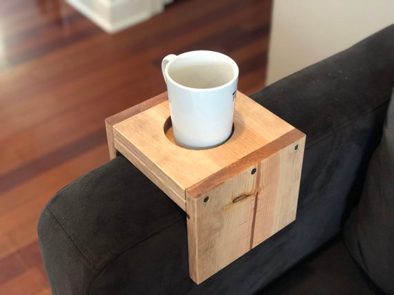 wooden cup holder arm rest table tray
