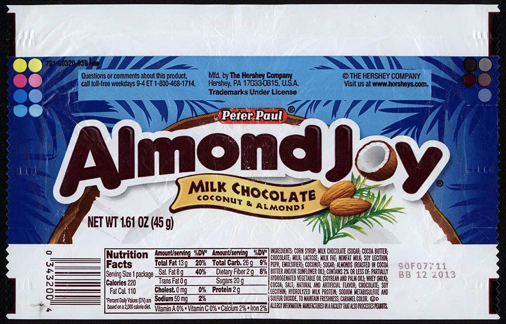 Hershey - Peter Paul Almond Joy - candy bar wrapper - 2013