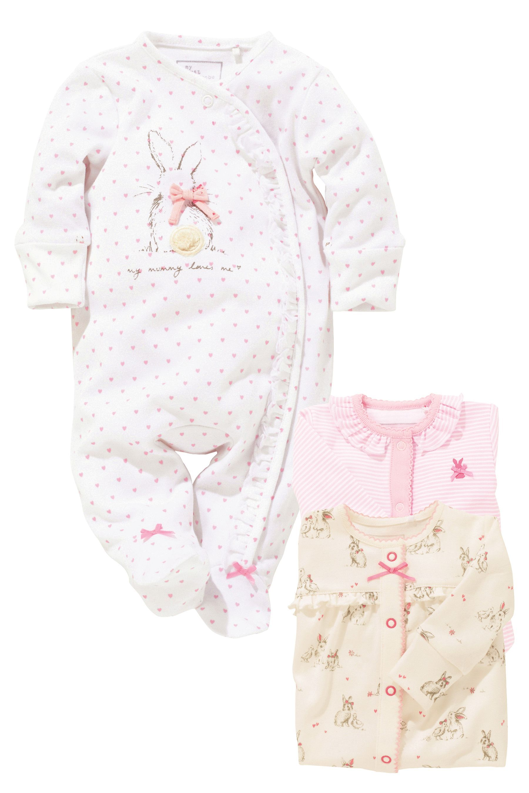 Buy Pink Bunny Sleepsuits Three Pack 0mths 2yrs from the Next UK