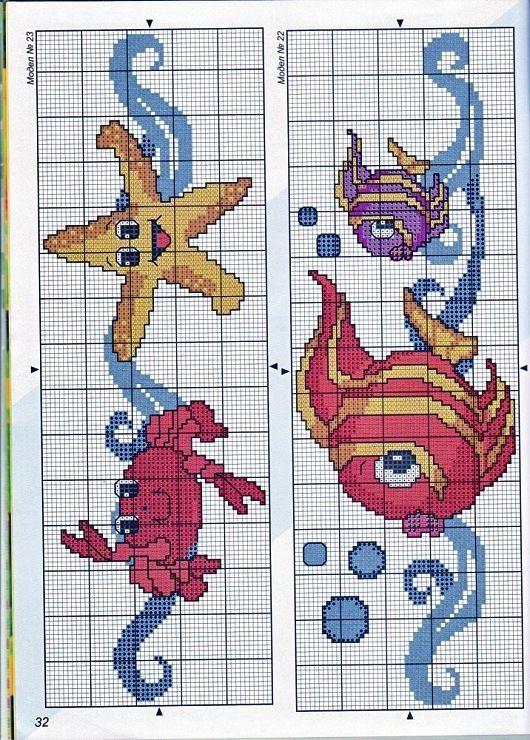 bichos+marinho+ponto+cruz1.jpg (530×740) Salvo de 4.bp.blogspot.com