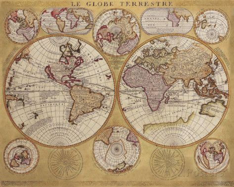 antique map globe terrestre 1690 globe terrestre terrestre et affiches. Black Bedroom Furniture Sets. Home Design Ideas
