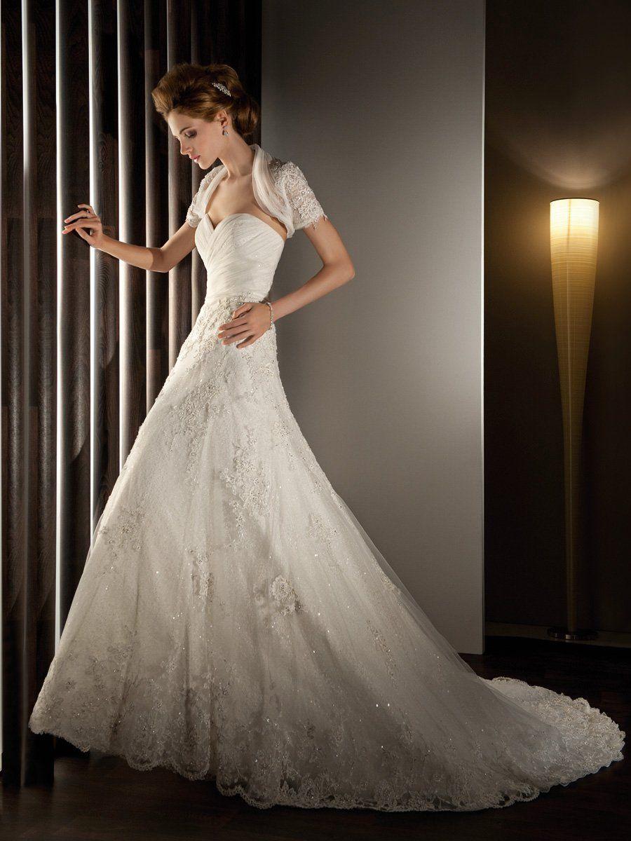 Formal romantic shabby chic ivory white aline wedding