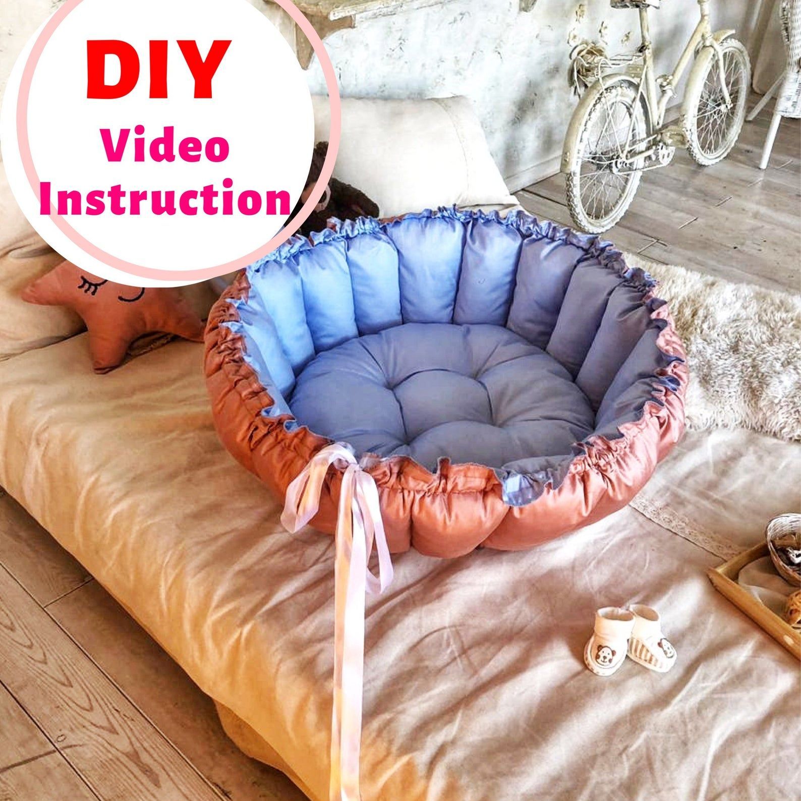 Sewing DIY Baby nest pattern Travel bed Nest transformer