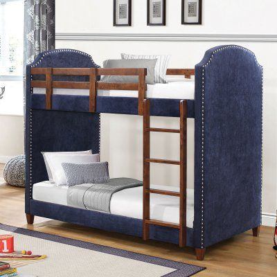 Coaster Furniture Navy Twin Over Twin Bunk Bed With Nailhead Trim