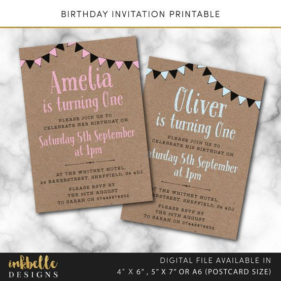 Birthday Invitation Digital File Pdf Diy 1st Invite