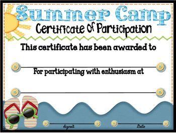 summer camp participation certificate 3 color wars pinterest