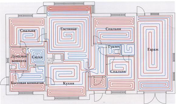 Картинки по запросу схемы укладки водяных теплых полов Поло Контур Покрывало