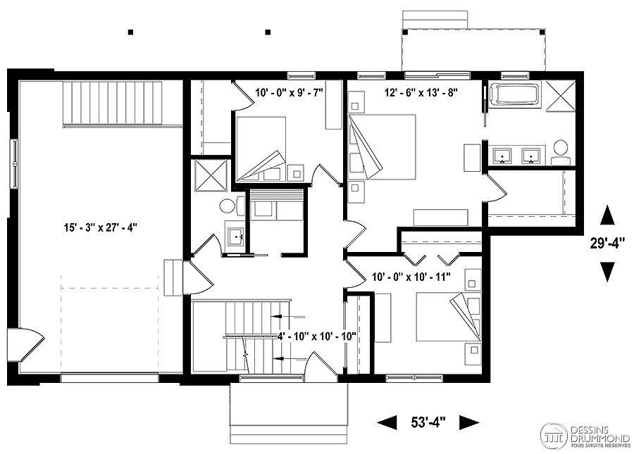 Plan de maison scandinave avec planchers inversés - plan maison etage m