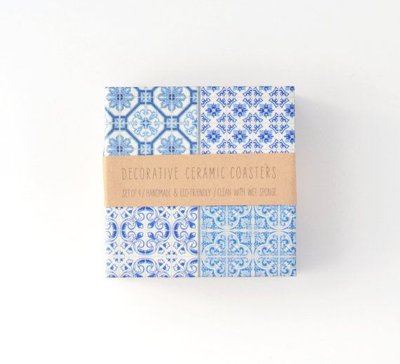 Moroccan Tiles Coasters Ethnic Blue White Beverage By Tilissimo