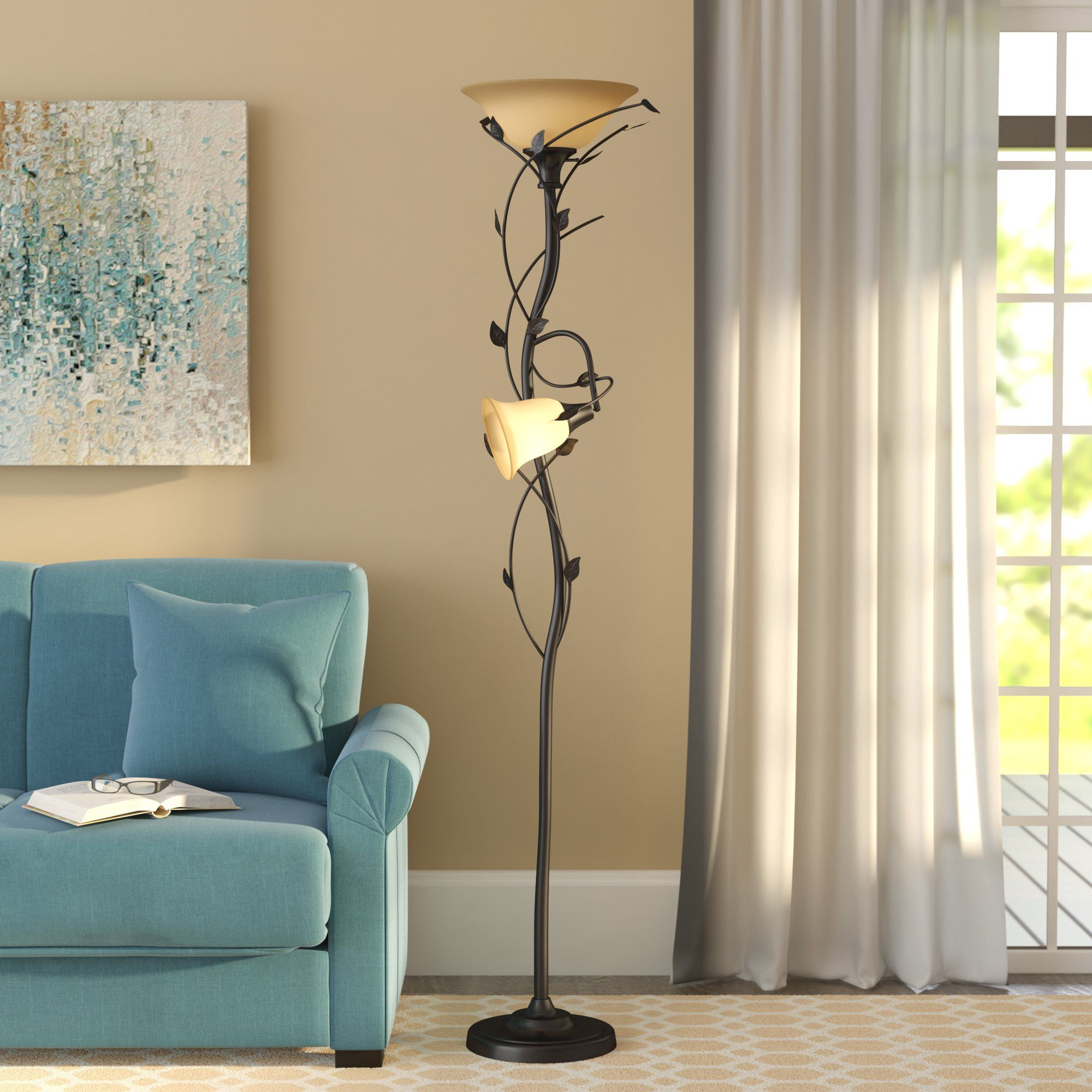 Alcott Hill Crystal 72 Quot Led Torchiere Floor Lamp Amp Reviews Wayfair New Tv Room Torchiere