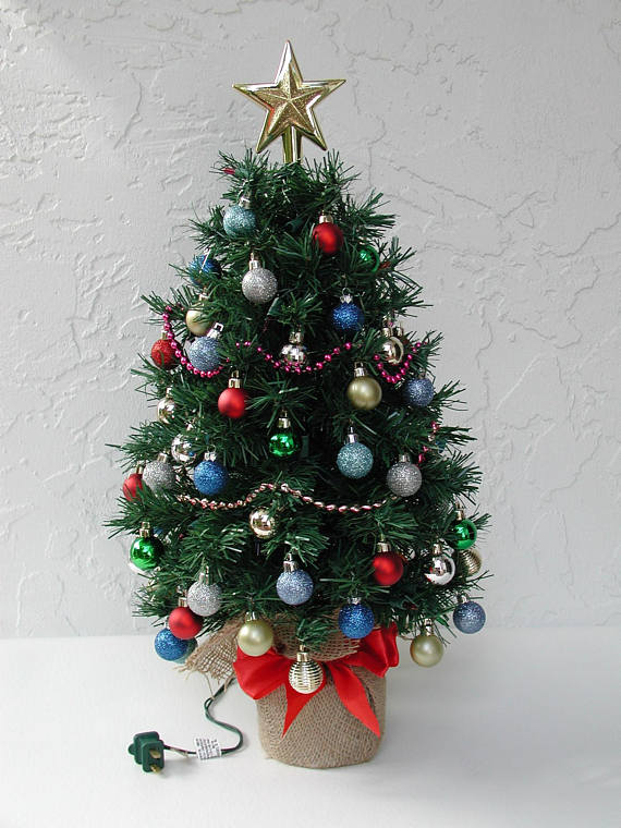Miniature Christmas Tree, Fully Decorated Tree, 50 Color ...